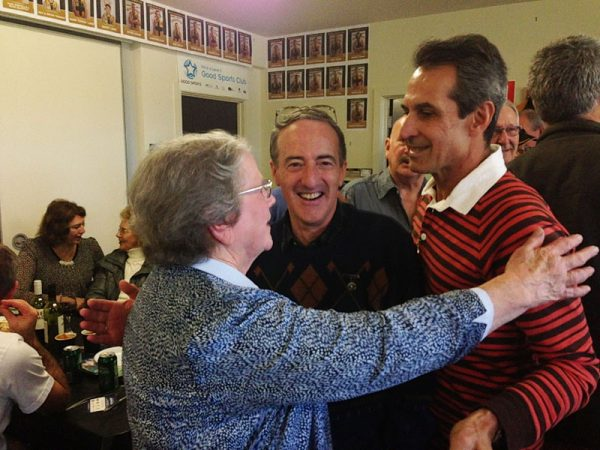 Kath Leman congratulated by Adrian Anderson and John Colliver: Gold Saints Lunch April 18 2015
