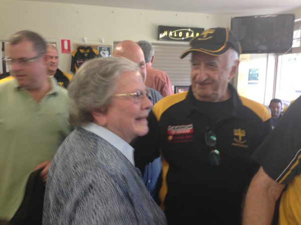 Kath Leman congratulated by Don Malcolm: Gold Saints Lunch April 18 2015