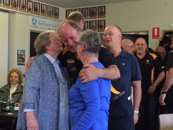 Kath Leman and Joan Malcolm congratulated by Evan Evans: Gold Saints Lunch April 18 2015