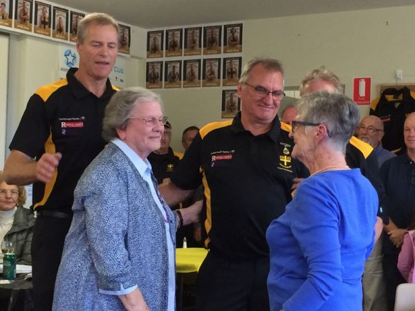 Kath Leman and Joan Malcolm presented with Life membership by Alan Martello: Gold Saints Lunch April 18 2015